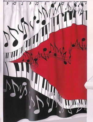 Piano Keys Musical Note Shower Curtain Jazz Red Blk New By Borders