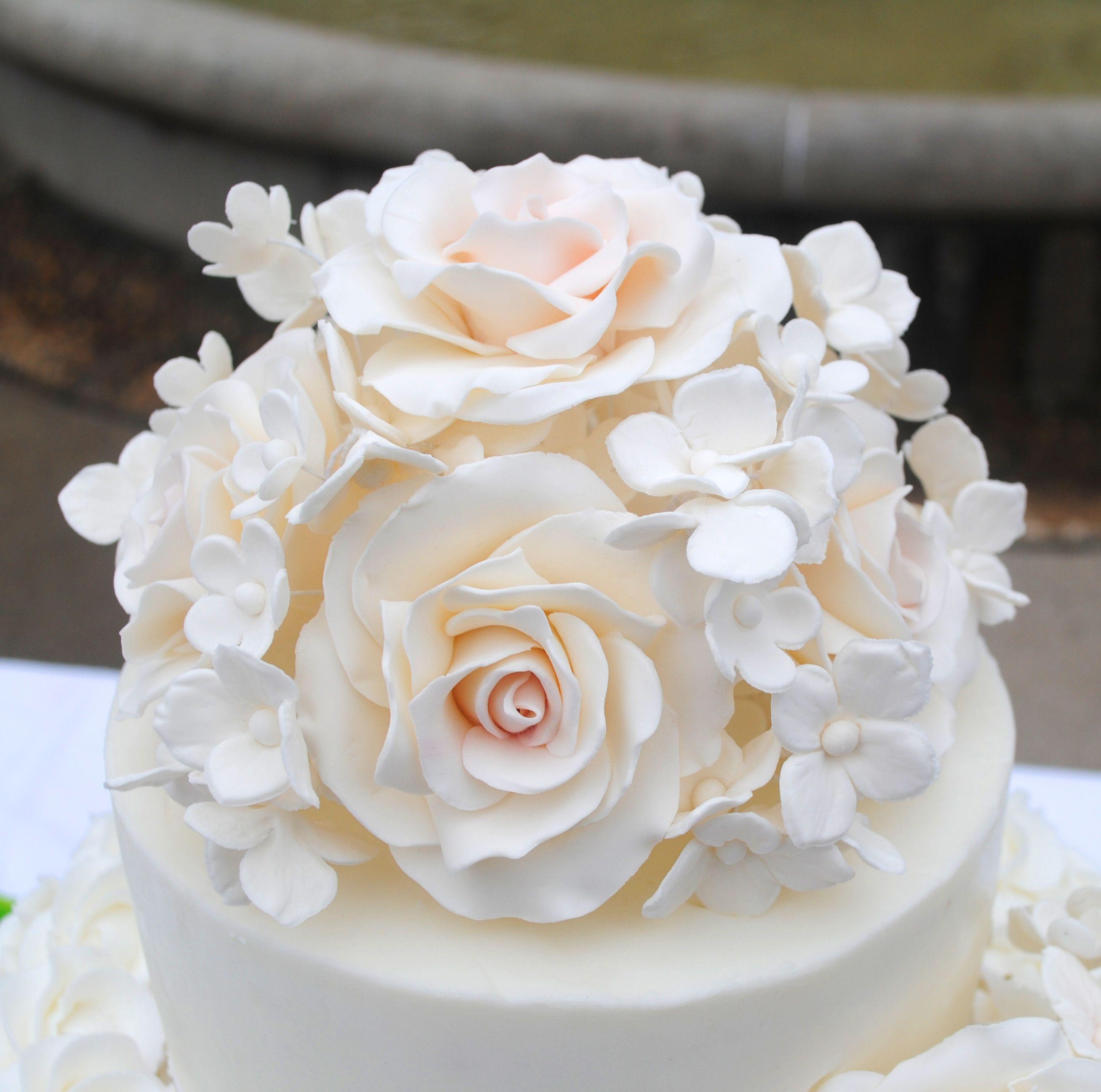 Light Pink Sugar Flowers Cake Topper Sugar Roses Sugar Hydrangeas Floral Cake Topper Floral Wedding Cake Toppers Simple Wedding Cake