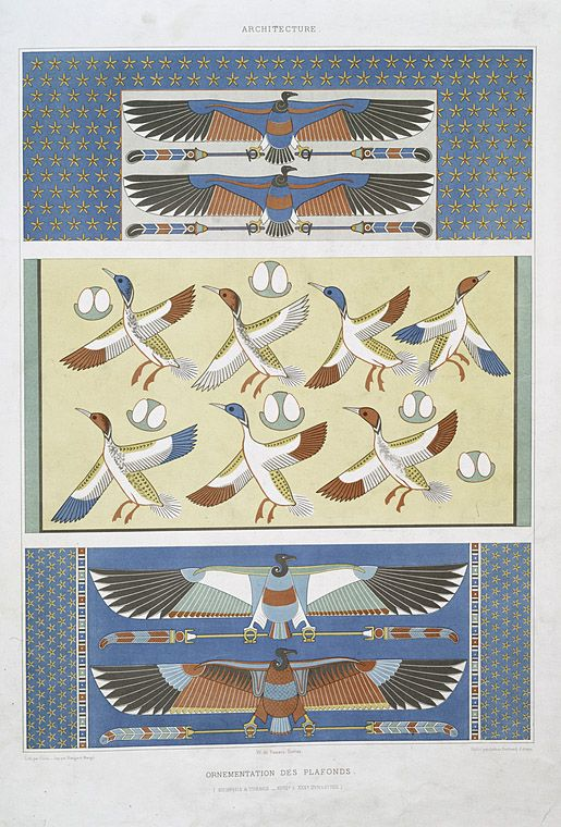 Architecture : ornementation des plafonds (Memphis & Thèbes -- XVIIIe. à XXXe. dynasties) From New York Public Library Digital Collections.