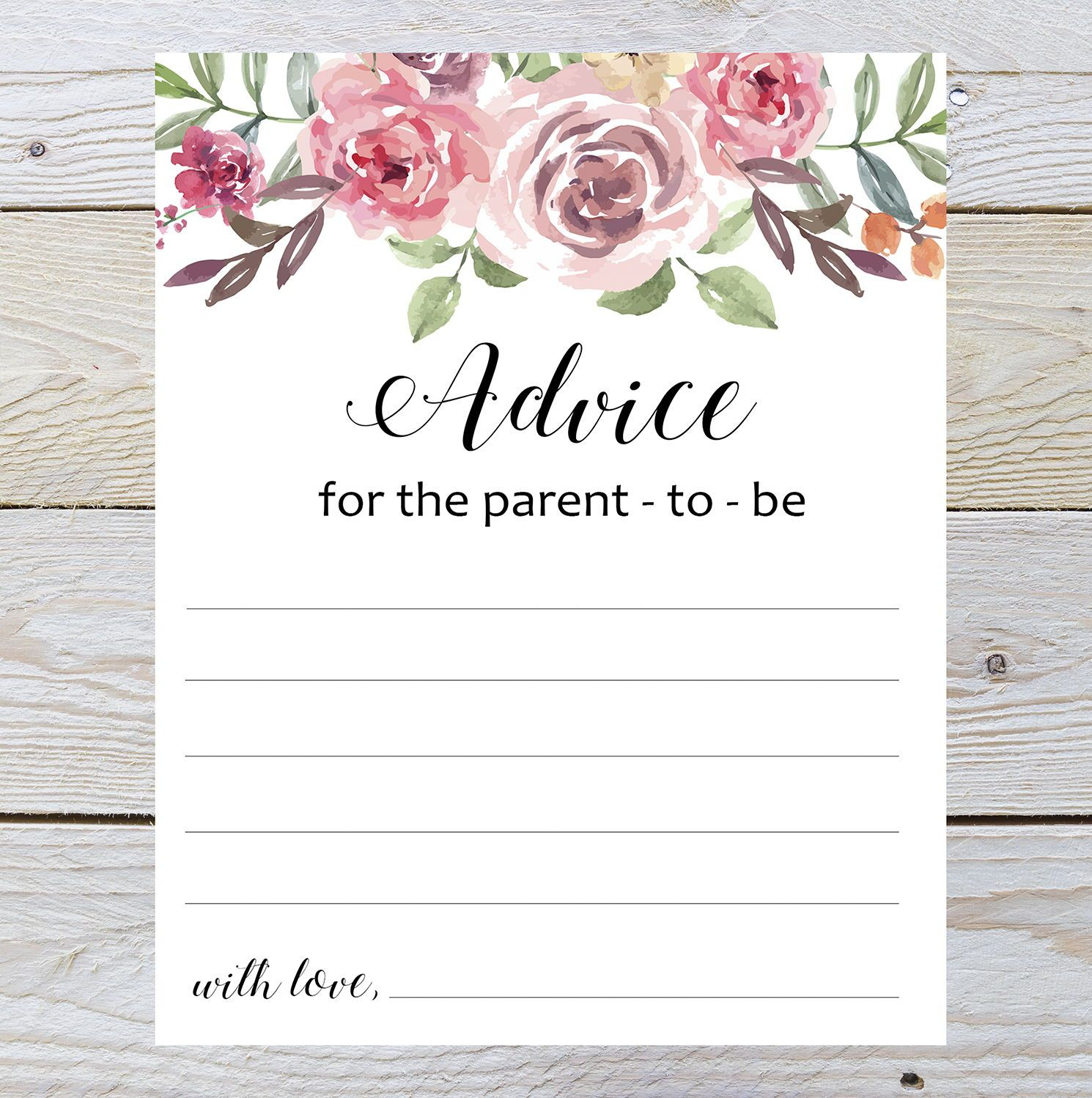 Advice For The Parents To Be Baby Shower Advice Advice Cards Advice For Parents Printable Advice Baby Shower Advice Baby Shower Advice Cards Advice Cards