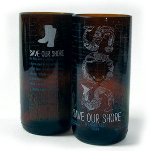 Brilliant  - reclaimed glass collections. Save Our Shores Tumbler Set now featured on Fab.