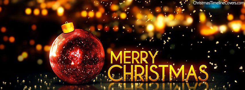 Merry Christmas Happy New Year Gold Facebook Cover