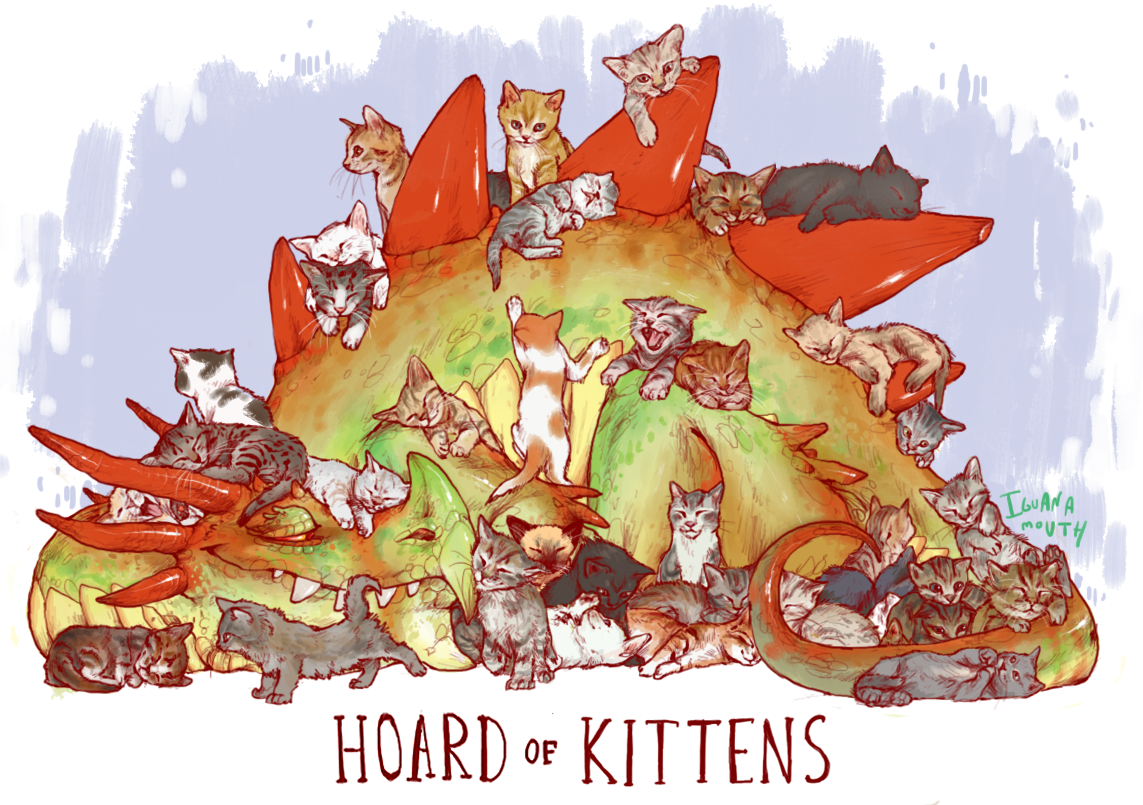 after the kittens grow up, this dragon finds his buddy who hoards cats and they switch out their charges.