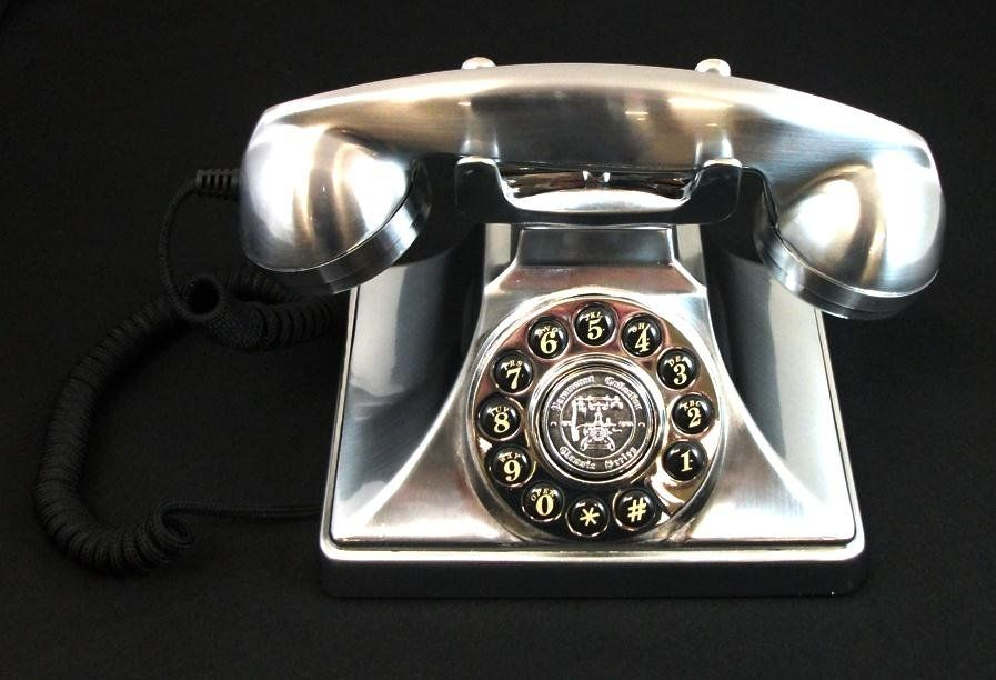 1930 Silver Old School Antique Vintage Rotary Dial Desk Phone - 1930 Silver Old School Antique Vintage Rotary Dial Desk Phone