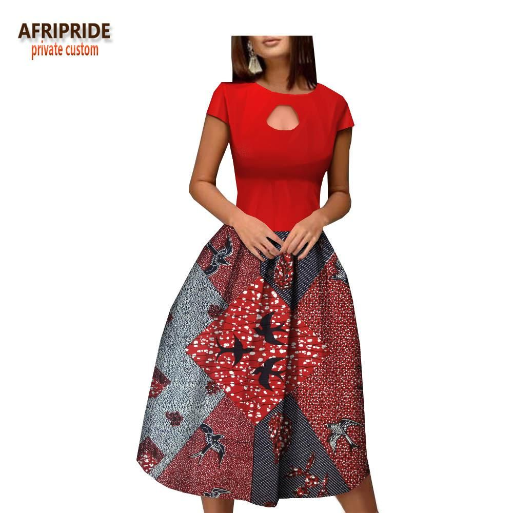 182ff3ea2ee 2018 african style summer dress for women AFRIPRIDE customized short sleeve  o-neck mid-calf length bud women dress A1825053. Yesterday s price  US   58.89 ...