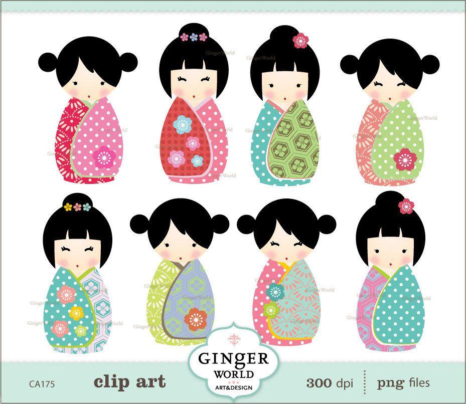 Items similar to Japanese kokeshi Doll kawaii clip art ...