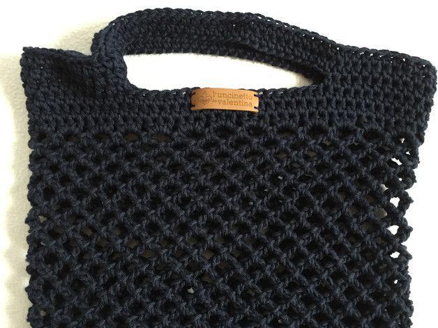einkaufstaschen einkaufsnetz netztasche dunkelblau ein designerst ck von luncinetto bei. Black Bedroom Furniture Sets. Home Design Ideas