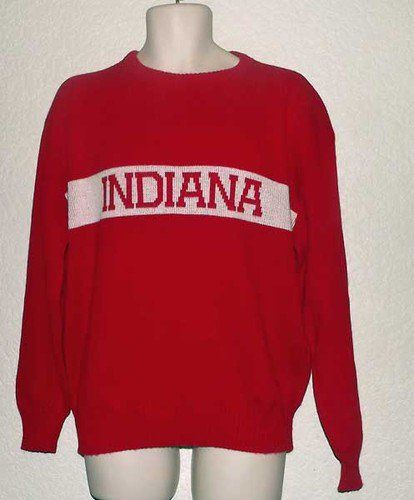 c83fafa14e Vintage L Indiana University IU Hoosiers Red and White Sweater ...