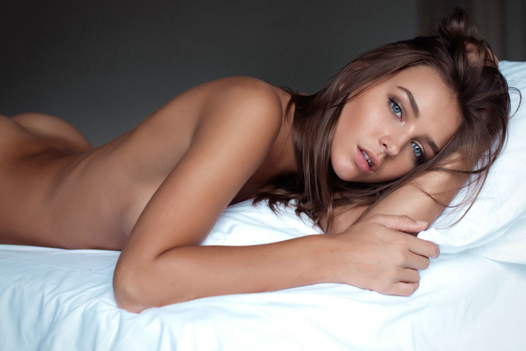 Beautiful brunette with shaved