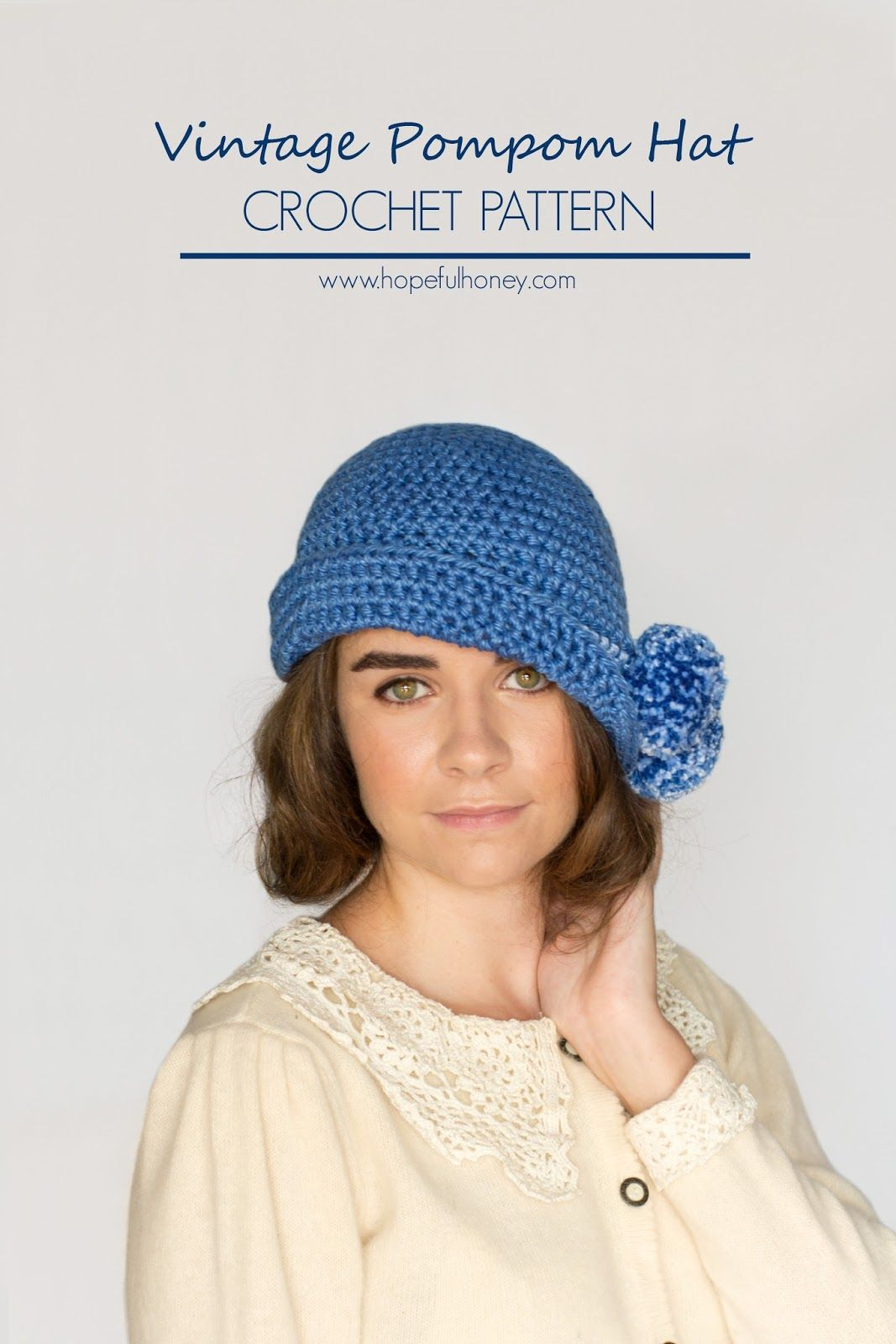 1920\'s Pompom Cloche Hat Crochet Pattern | Gorros, Tejido y Ganchillo