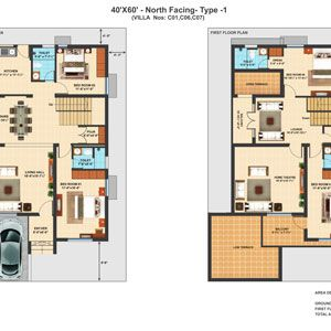 40x60 Nf Type 1 4 Bhk Duplex Villa Floor Plans