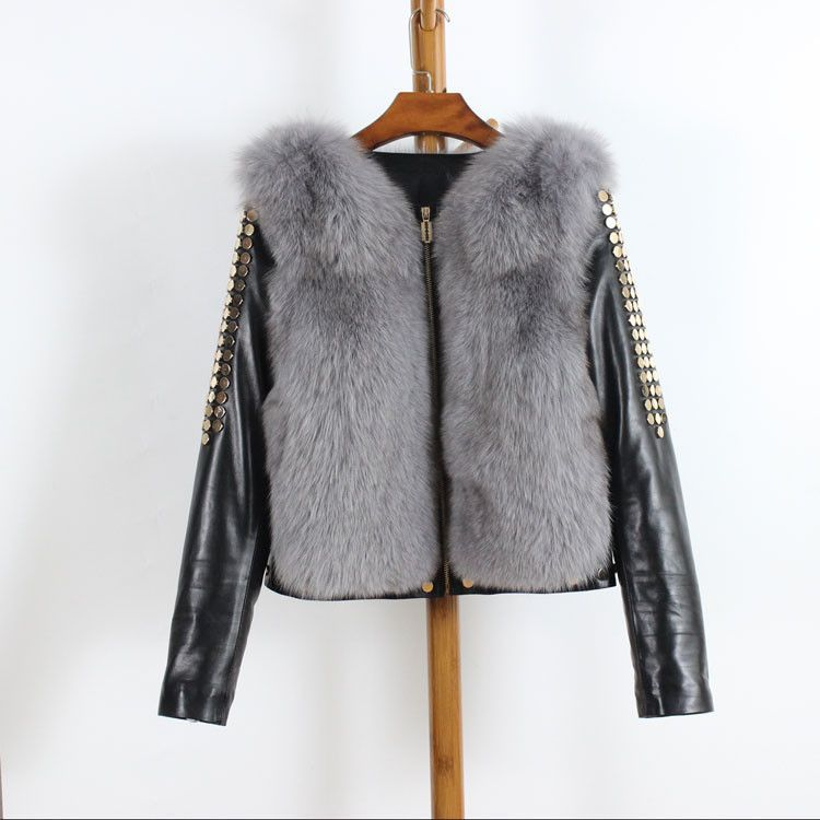 clearance ! Winter Real Fox Fur Coat Long Sleeve Patchwork Genuine ...