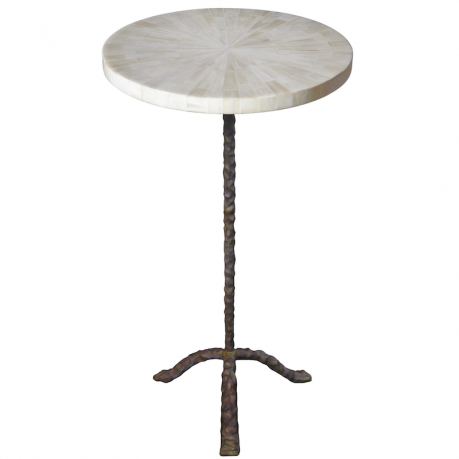 "Ironies Aegean Polished pieced bone top  14"" diameter x 24""H  Top available in various applied finishes  Base available in all brass finishes"