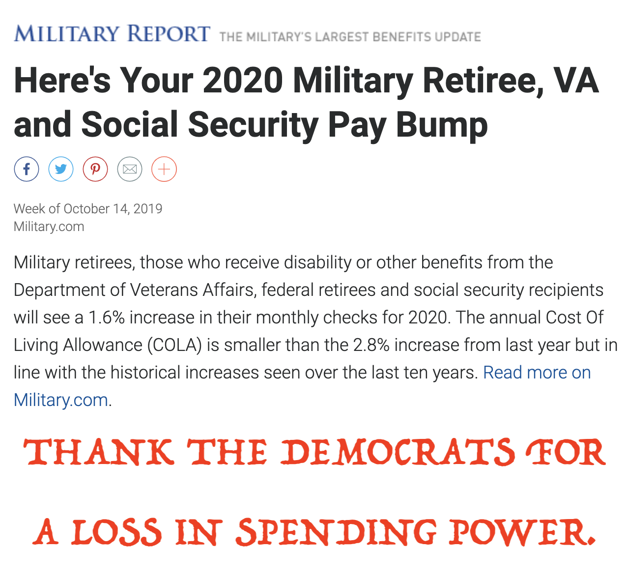 Here S Your 2020 Military Retiree Va And Social Security Pay Bump