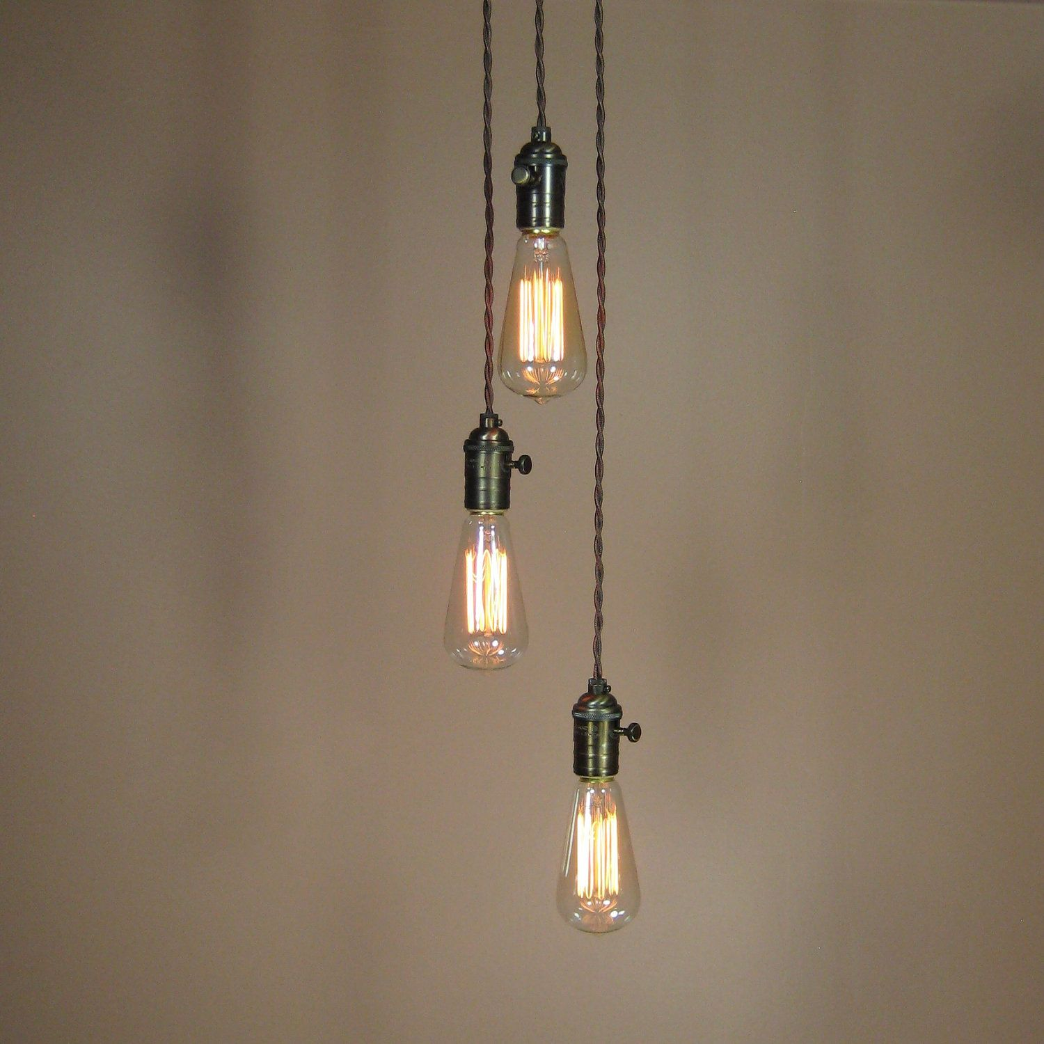 3 light chandelier cascading pendant lights with edison for Industrial bulb pendant