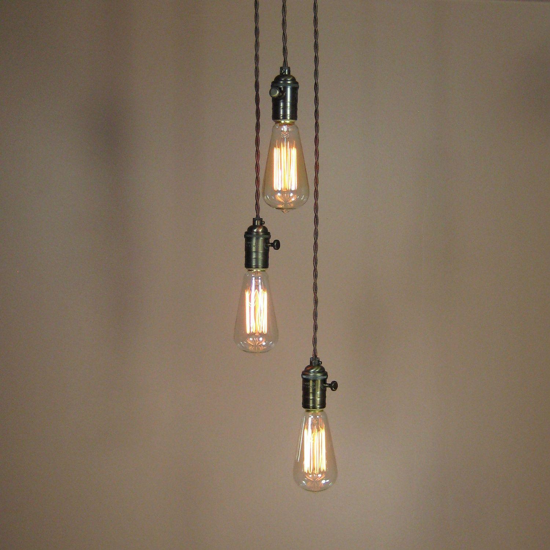 3 Light Chandelier Cascading Pendant Lights With Edison Light Bulbs Minimalist Home Deco Edison Light Bulbs Chandelier Lighting Modern Lighting Chandeliers