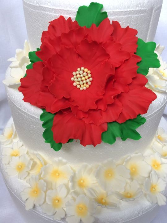 Fondant Flowers XL Edible Poinsettia Inspired Cupcake Toppers For Wedding Topper Decorations Red Christmas Holiday