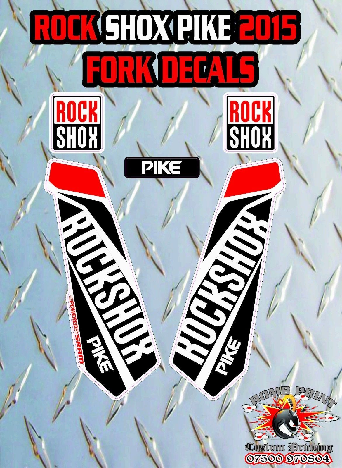Fox 32 2014 FORK Stickers Decals Graphics Mountain Bike Down Hill MTB RED