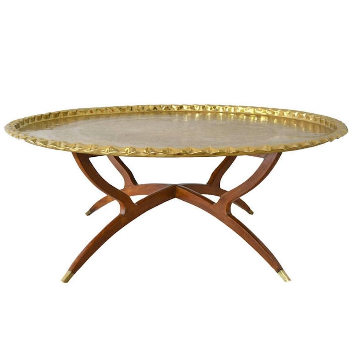 46 Oval Moroccan Brass Tray Table Antique Turkish Ottoman Empire
