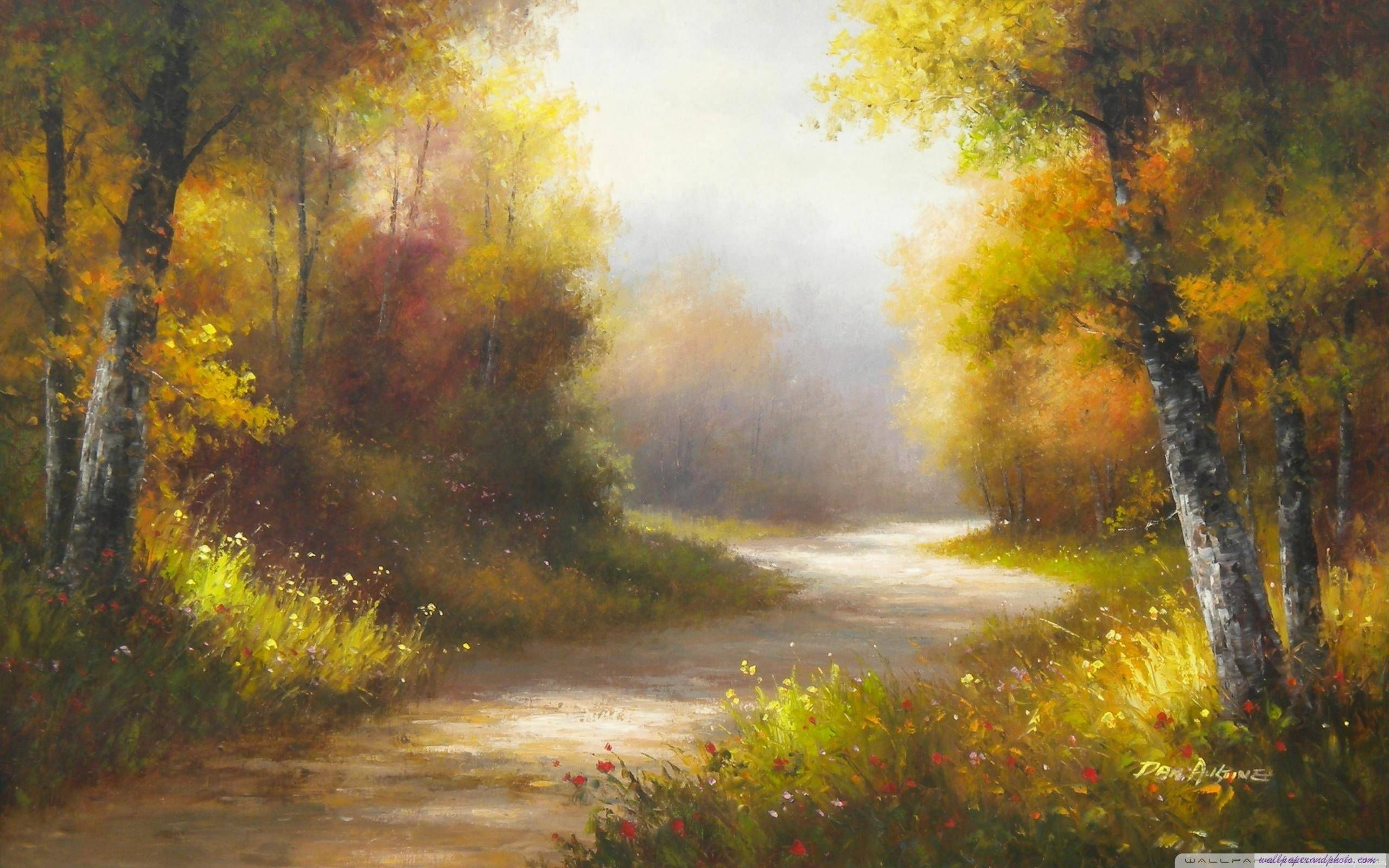 Colorful River Forest Art Painting Hd Wallpapers Landscape Paintings Oil Painting Landscape Colorful Landscape