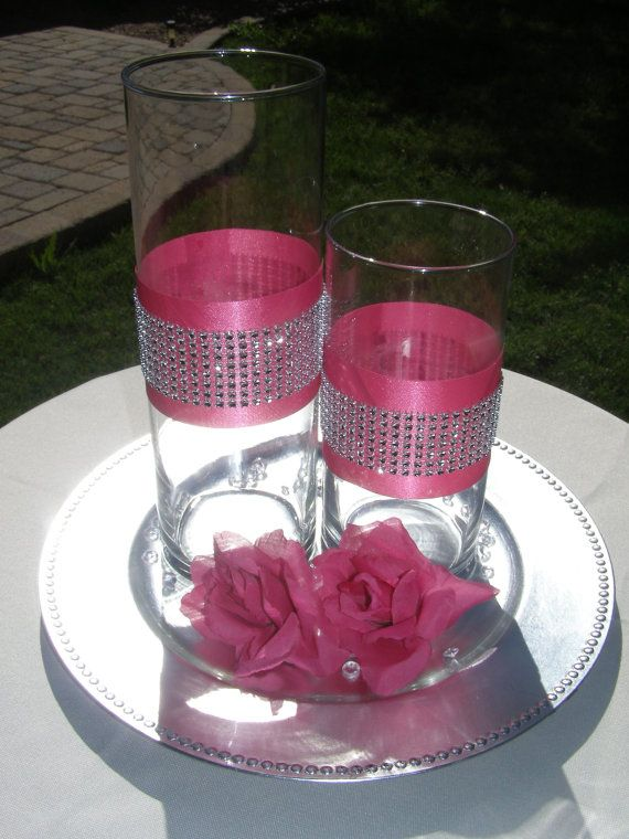 Set Of 2 Ribbon Rhinestone Vase Centerpieces By Bellaskyweddings