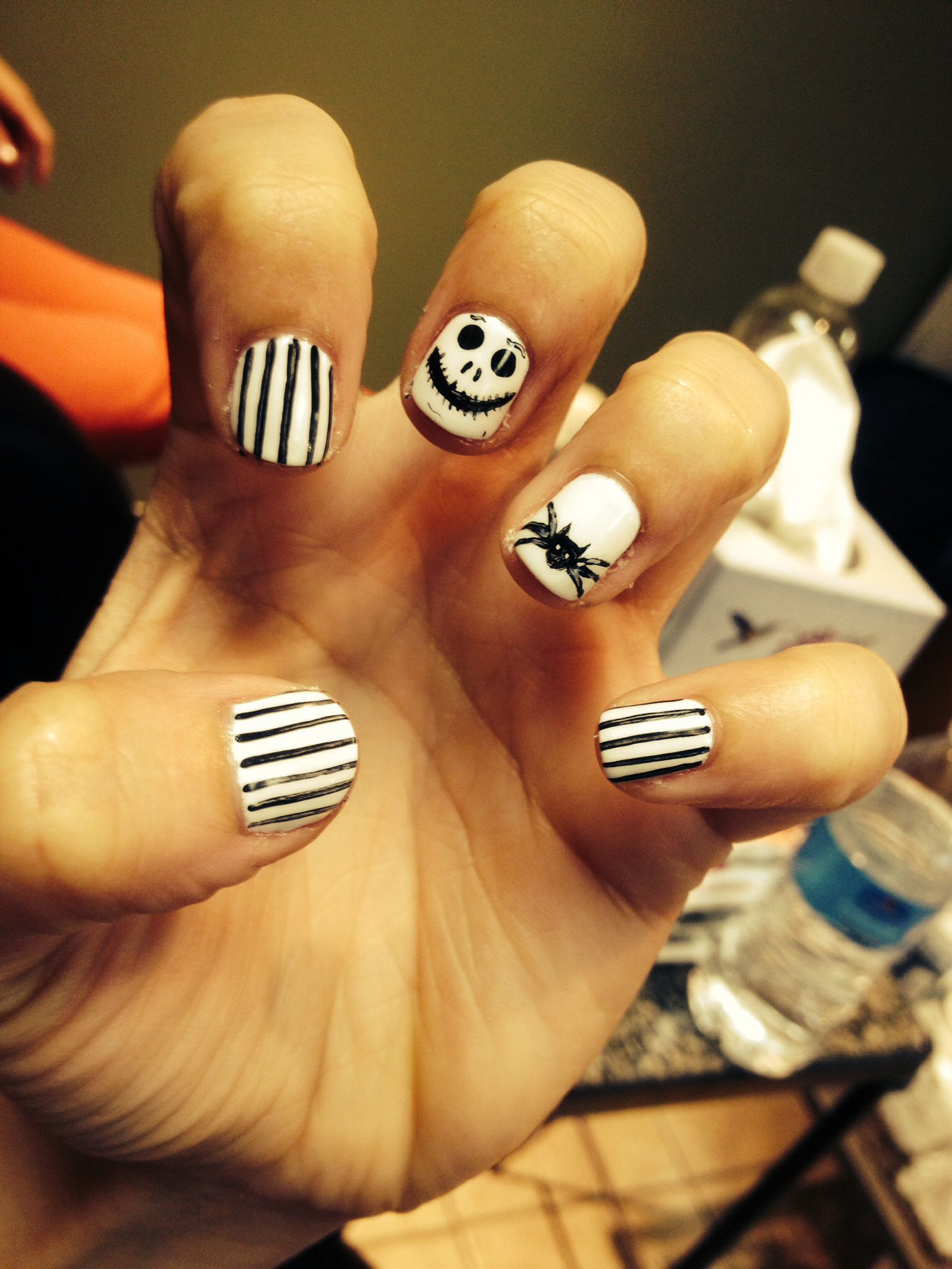 Jack Skellington Shellac Nail Design! Perfect For