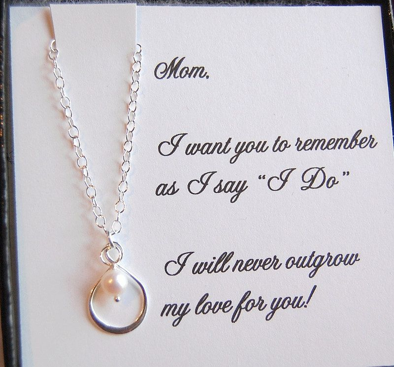 Mother Of The Bride Card With Silver Infinity Pearl Necklace Gift