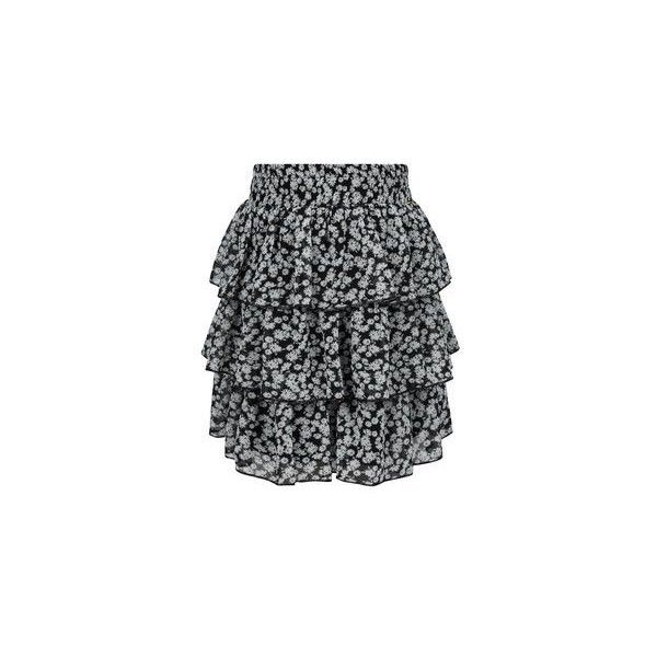 New Look Girls Black Ditsy Floral Rara Skirt (£9.99) ❤ liked on Polyvore featuring skirts, black pattern, patterned skirt, print skirt and elastic waist skirt