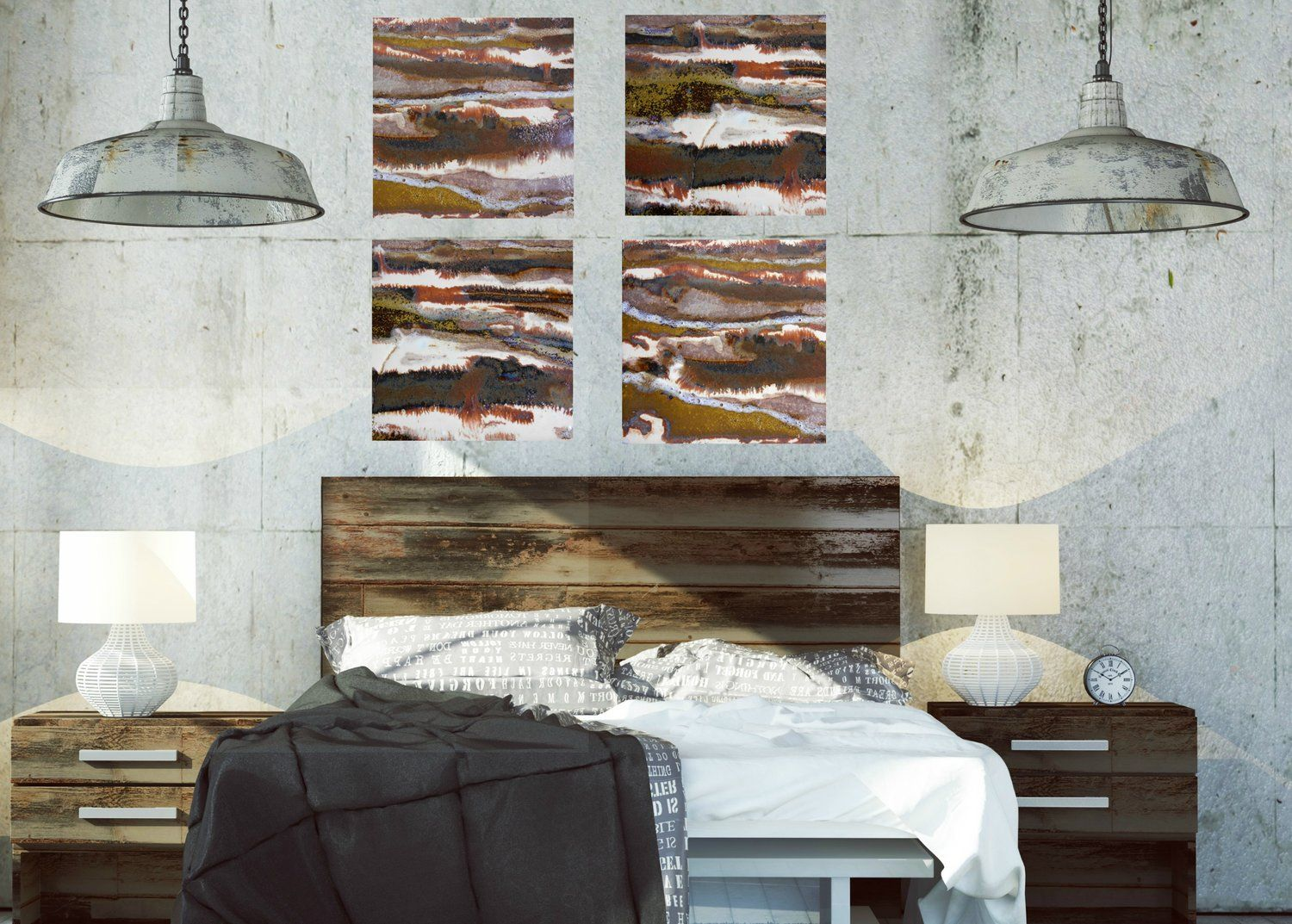 Brown Gold White Red Cream And Tan Modern Canvas Prints Industrial