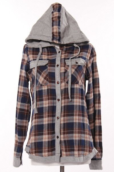 Plaid Button Up Hoodie, need, need, need!