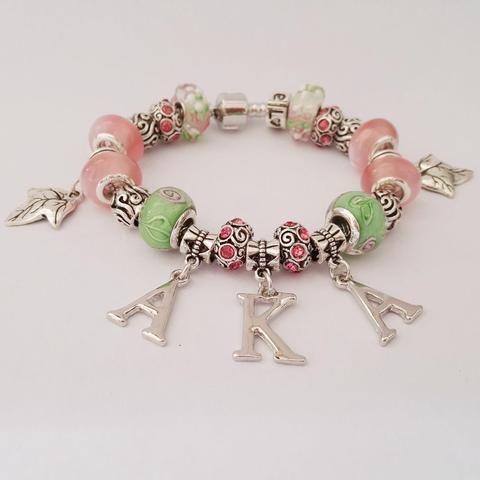 5de08f2ac8718 Alpha Kappa Alpha Sorority Letter Charm Bead Bracelet Jewelry ...