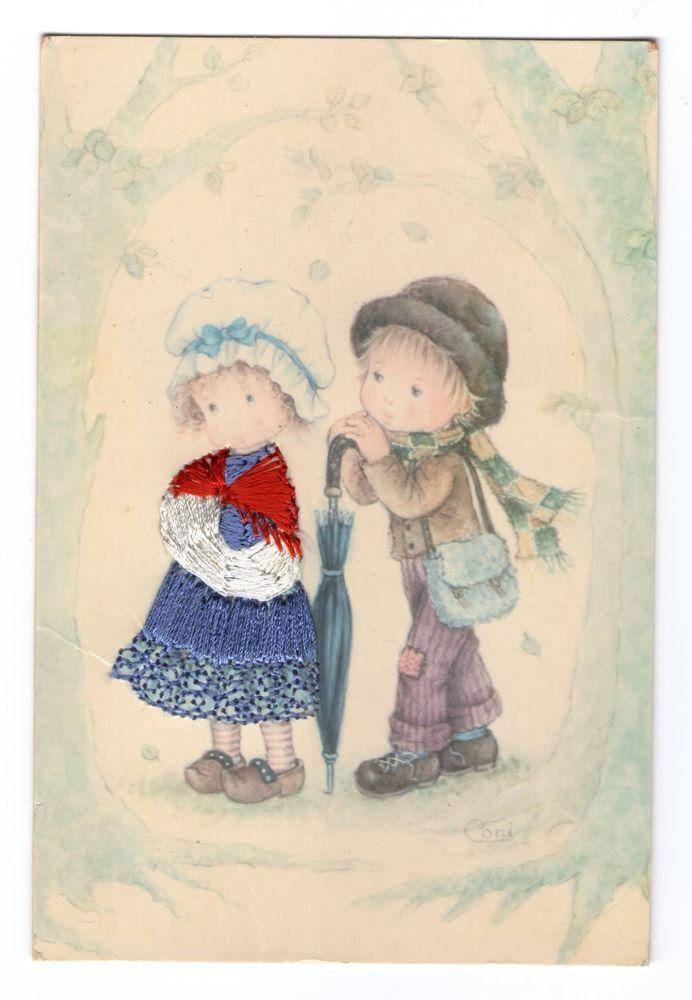 CARTE POSTALE BRODEE COUPLE D ENFANTS EN PROMENADE | Carte postale, Carte, Postale