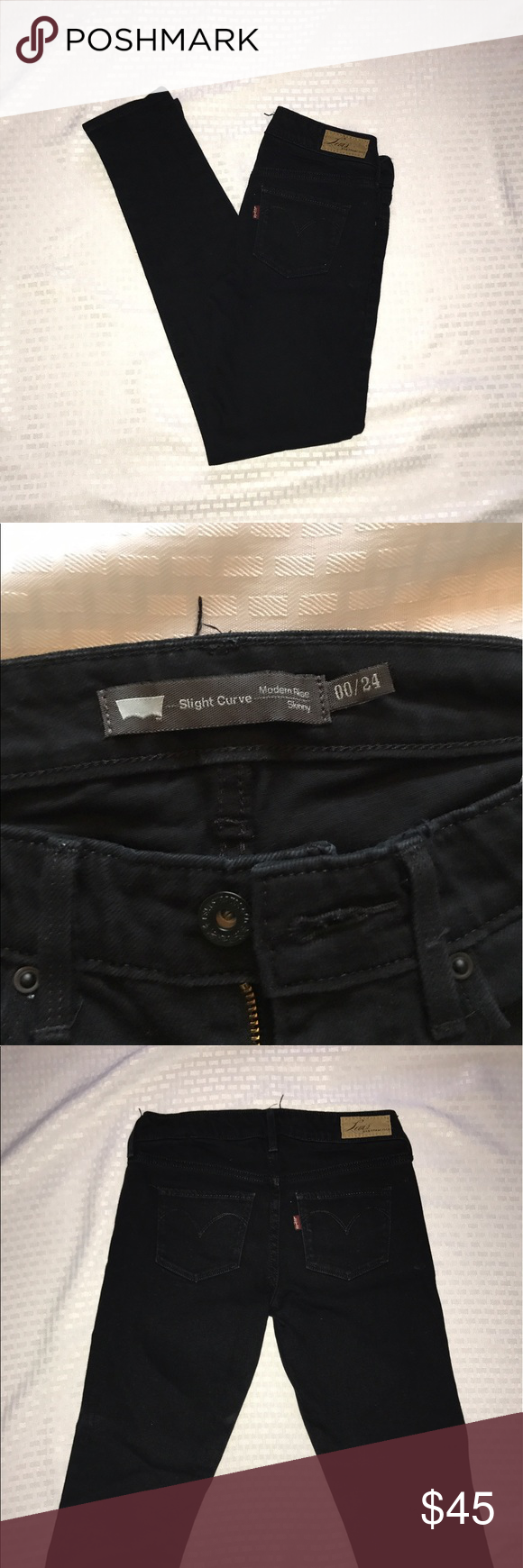 Levi's Black Modern Rise Skinny Jeans Levi's Black Modern Rise Skinny Jeans  Black Denim Jeans  Size 00/24  Gently Used Levi's Jeans Skinny