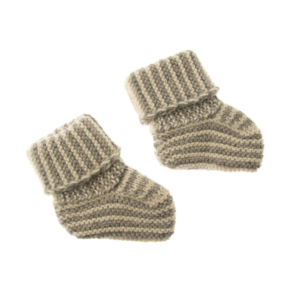 Striped Knit Alpaca Baby Booties