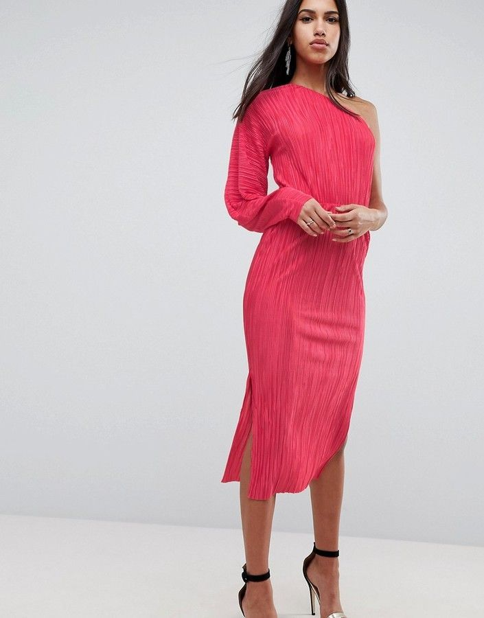 fec5230eb397 One Shoulder Midi Dress With Balloon Sleeve In Plisse | Dresses ...