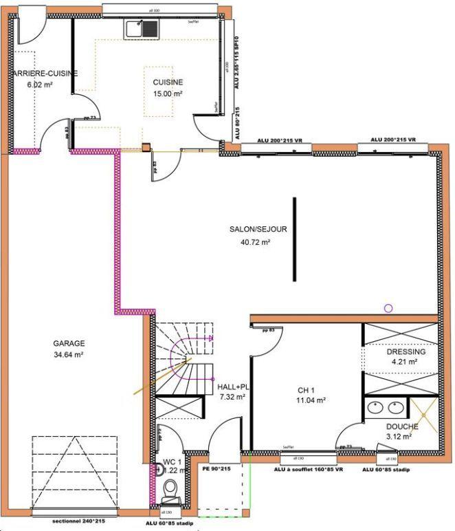 Idée relooking cuisine 149 m 4 chambres 1 étage VUE RDC Décoration