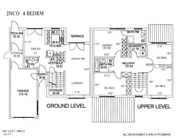 4 Bedroom Junior NCO Townhouse floorplan