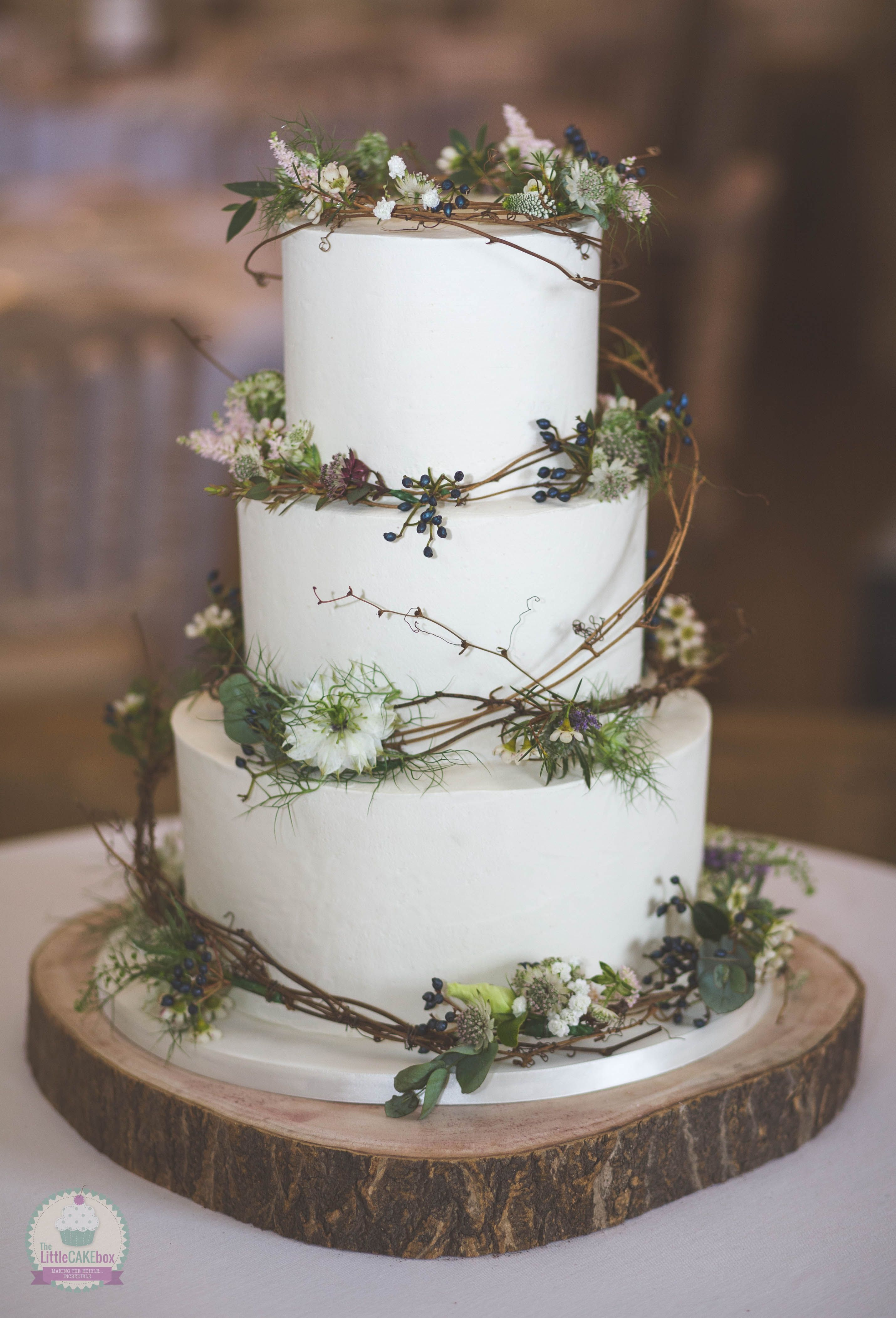 3 Tier Rustic Buttercream Wedding Cake With Fresh Flowers And