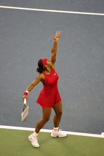 Serena Williams serving - US Open tennis 2008 #USOpen