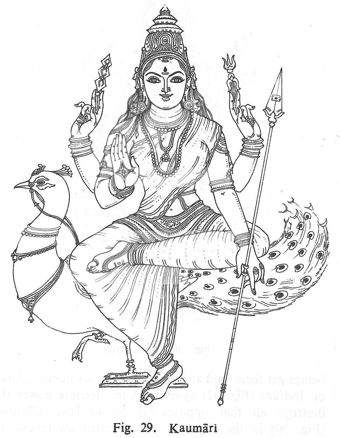 kaumari hindu gods coloring book pinterest goddesses
