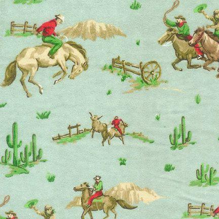 vintage cowboy flannel fabric