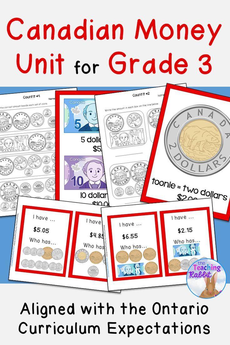 Canadian Money Unit For Grade 3 Ontario Curriculum