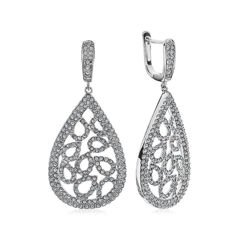 e40c7dada Diamond Glamour™ Diamond- and Crystal-Accent Sterling Silver Pear-Shaped  Drop Earrings