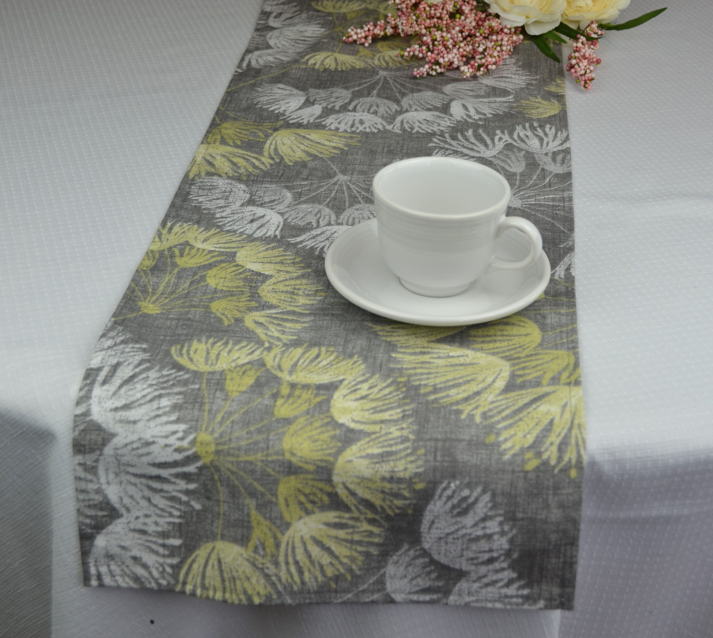 Dining Table Runner Yellow And Gray Table Runner Dandelion Dining Room Table Runner Dining Table Runners Yellow Dining Room