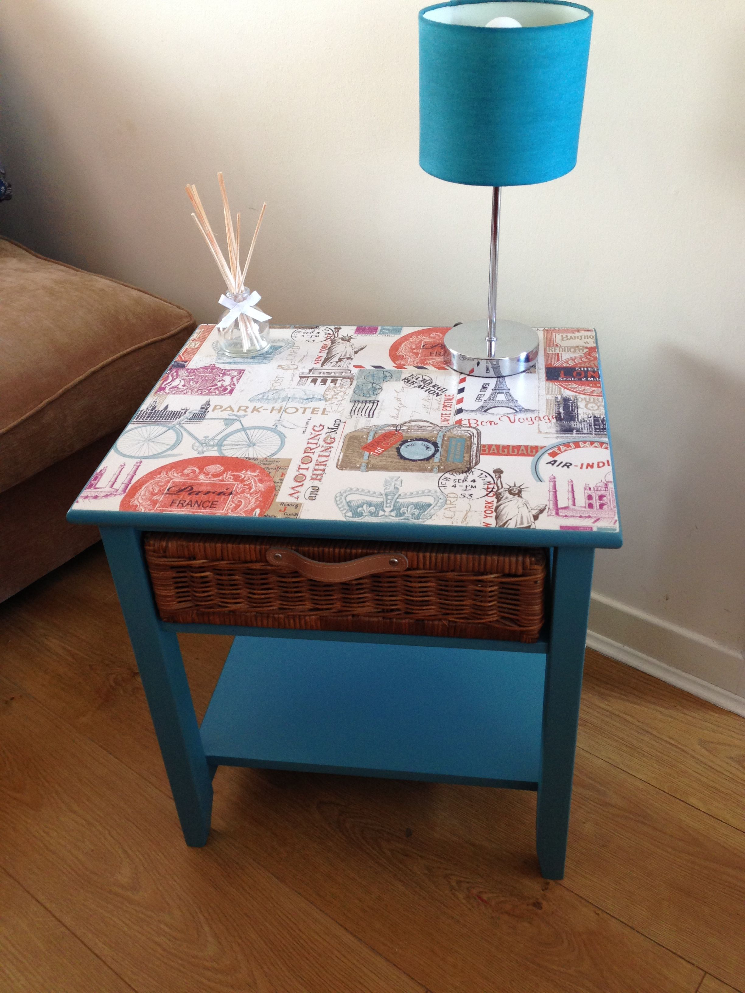 Upcycled furniture side table in teal with wicker basket and upcycled furniture side table in teal with wicker basket and decoupaged top in travel motif geotapseo Gallery