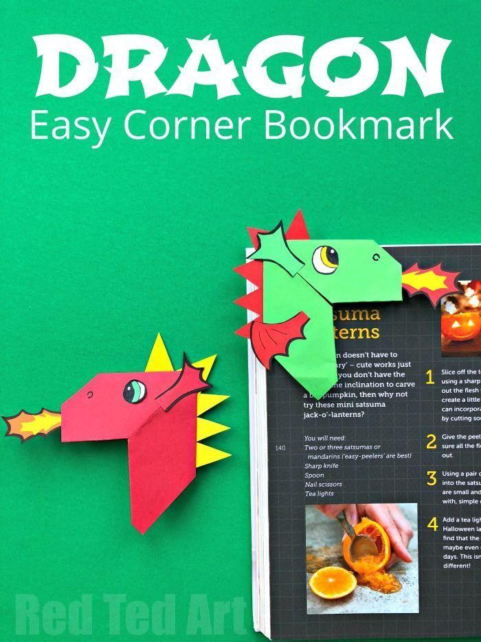 Fun Dragon Corner Bookmark Design - Red Ted Art