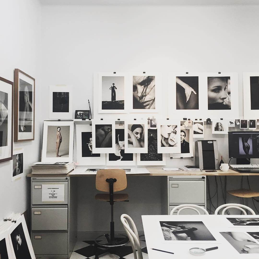 Industrial designer home office studio monochrome gallery wall ...