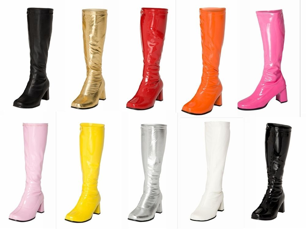 Details about 7CM High Chunky Heel Women's Fancy Dress 60s& 70s Classic Retro Knee High Boots