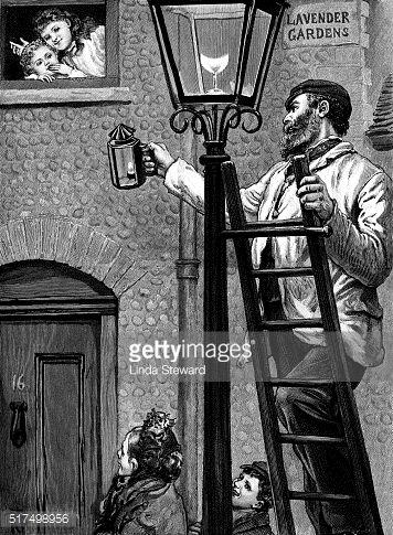 A Victorian Lamplighter Lighting A Street Gas Lamp In A Fictional Gas Lights Victorian Gas Lamp