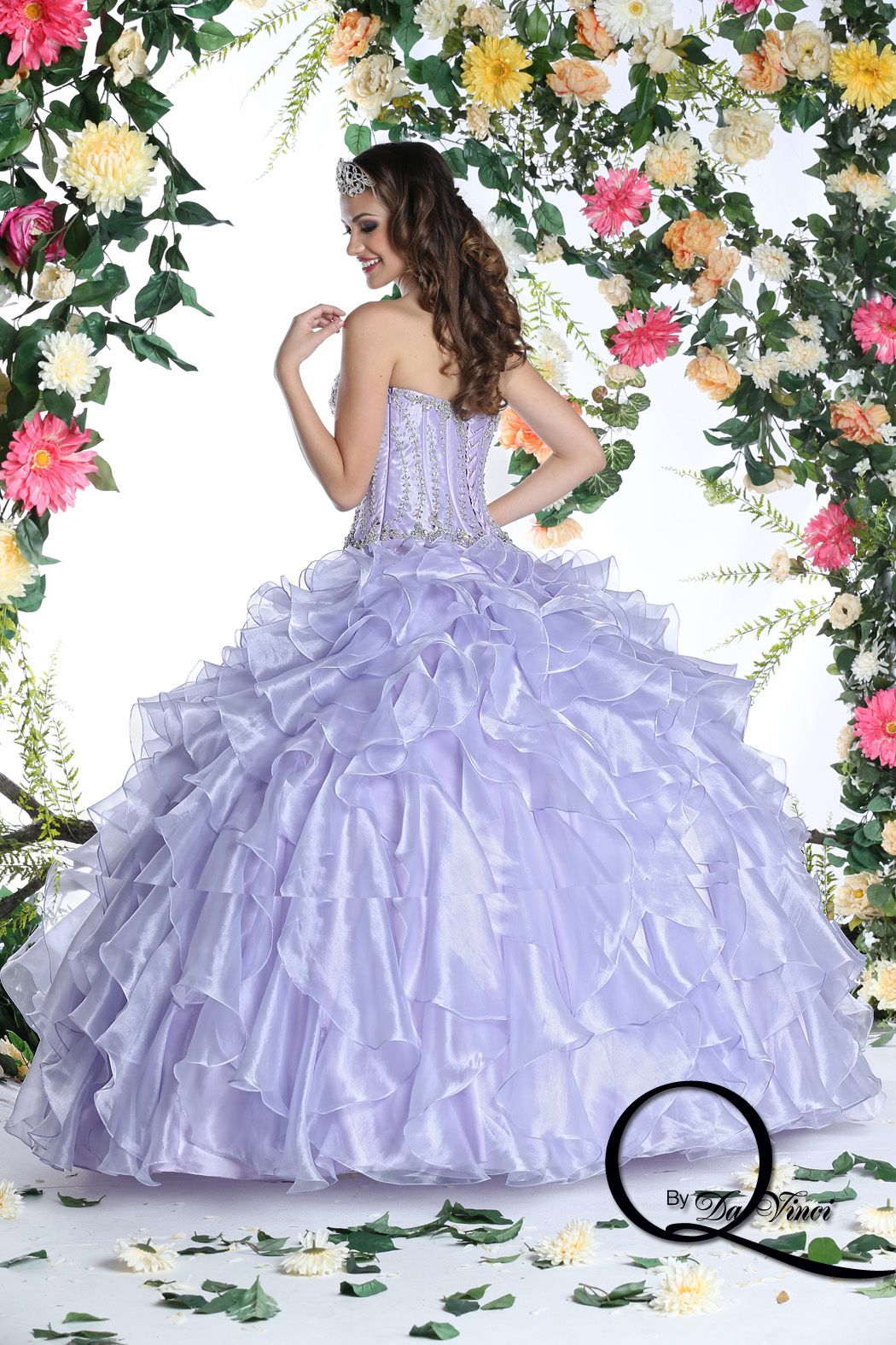 Color q online - Fashionably Chic Q By Davinci Style 80266 Featuring Hermoso Shimmer Organza In Colors Mint Lilac
